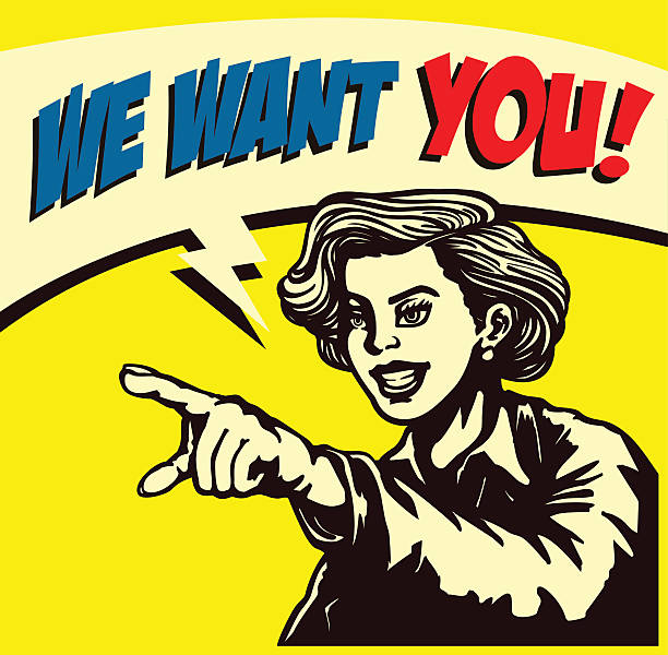 We want you! Retro woman pointing finger vector illustration I want you! Retro businesswoman with pointing finger picking candidate for job vacancy, we're hiring sign comic book style vector illustration uncle sam stock illustrations