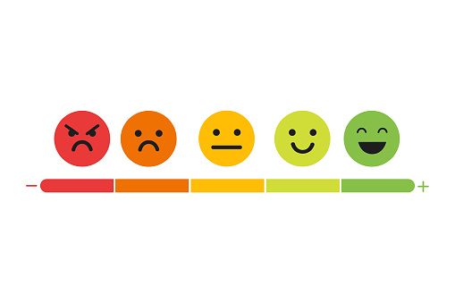 We want your feedback. Badge, stamp with happy and unhappy faces icons. . clipart