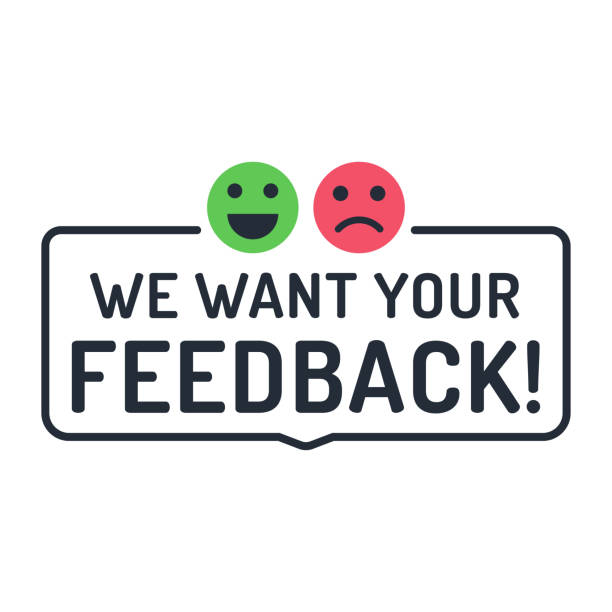 wir möchten ihr feedback. abzeichen, stempel mit glückliche und unglückliche gesichter symbole. flache vektor-illustration auf weißem hintergrund. - feedback stock-grafiken, -clipart, -cartoons und -symbole