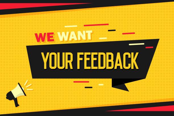 ilustrações, clipart, desenhos animados e ícones de queremos seu feedback. megafone com faixa de fita e halftone. histórico de marketing - feedback