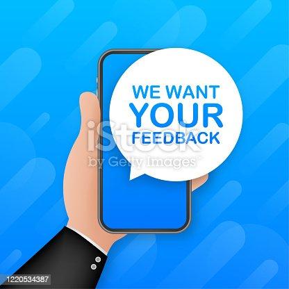1130633985 istock photo We want your feedback on smartphone screen. Customer service. Speaker, loudspeaker. Survey vector illustration. Feedback concept 1220534387