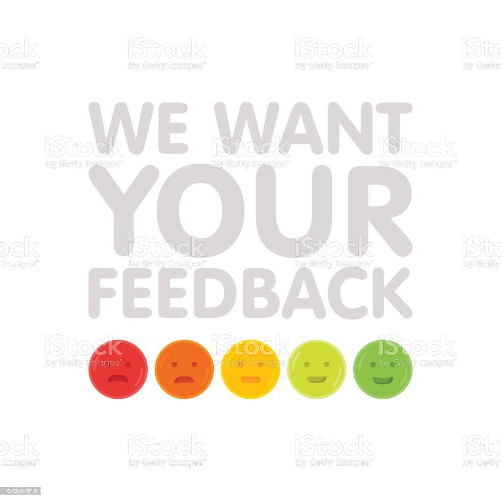 Nous voulons votre signe de rétroaction avec l'émoticônes vector illustration. - Illustration vectorielle