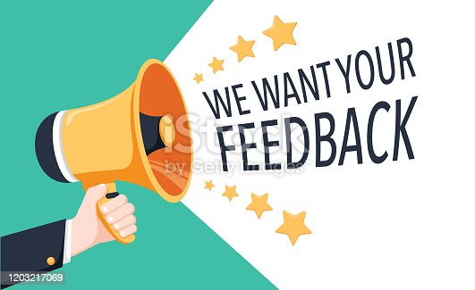 1130633985 istock photo We want Your feedback. Survey opinion service. Attention megaphone client customer feedback concept. User reviews 1203217069