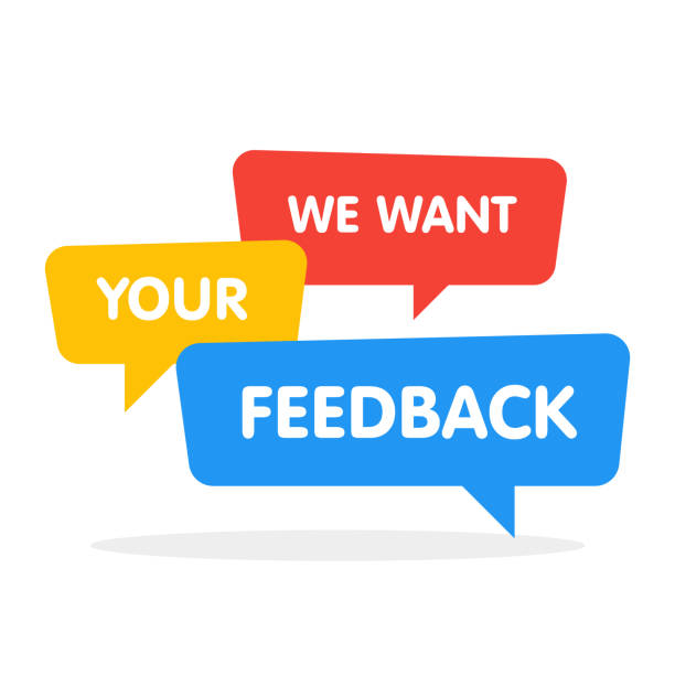 We want your feedback! Vector speech bubbles illustration on white background We want your feedback! Vector speech bubbles illustration on white background. survey stock illustrations