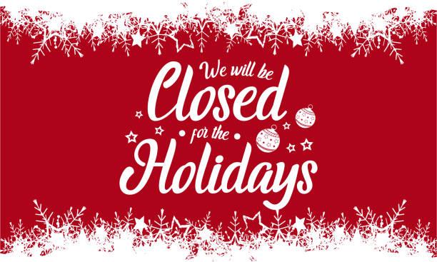 ilustrações, clipart, desenhos animados e ícones de nós será fechada, férias - fechado