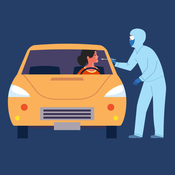 We will come to you Woman being testing for infection in her vehicle nasal swab stock illustrations
