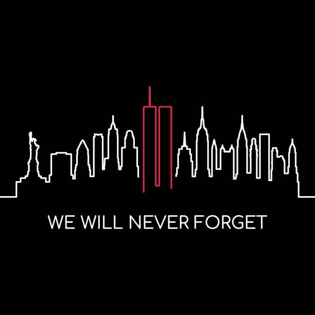 우리는 기념 배너를 결코 잊지 않을 것입니다. 미국 현충일 벡터 디자인입니다. - first responders stock illustrations