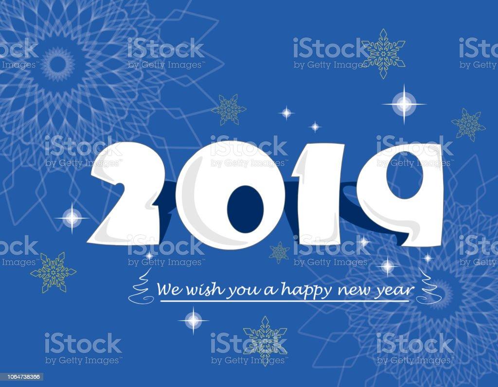 Wir Wünschen Ihnen Ein Frohes Neues Jahr 2019 Auf Blauem Hintergrund ...