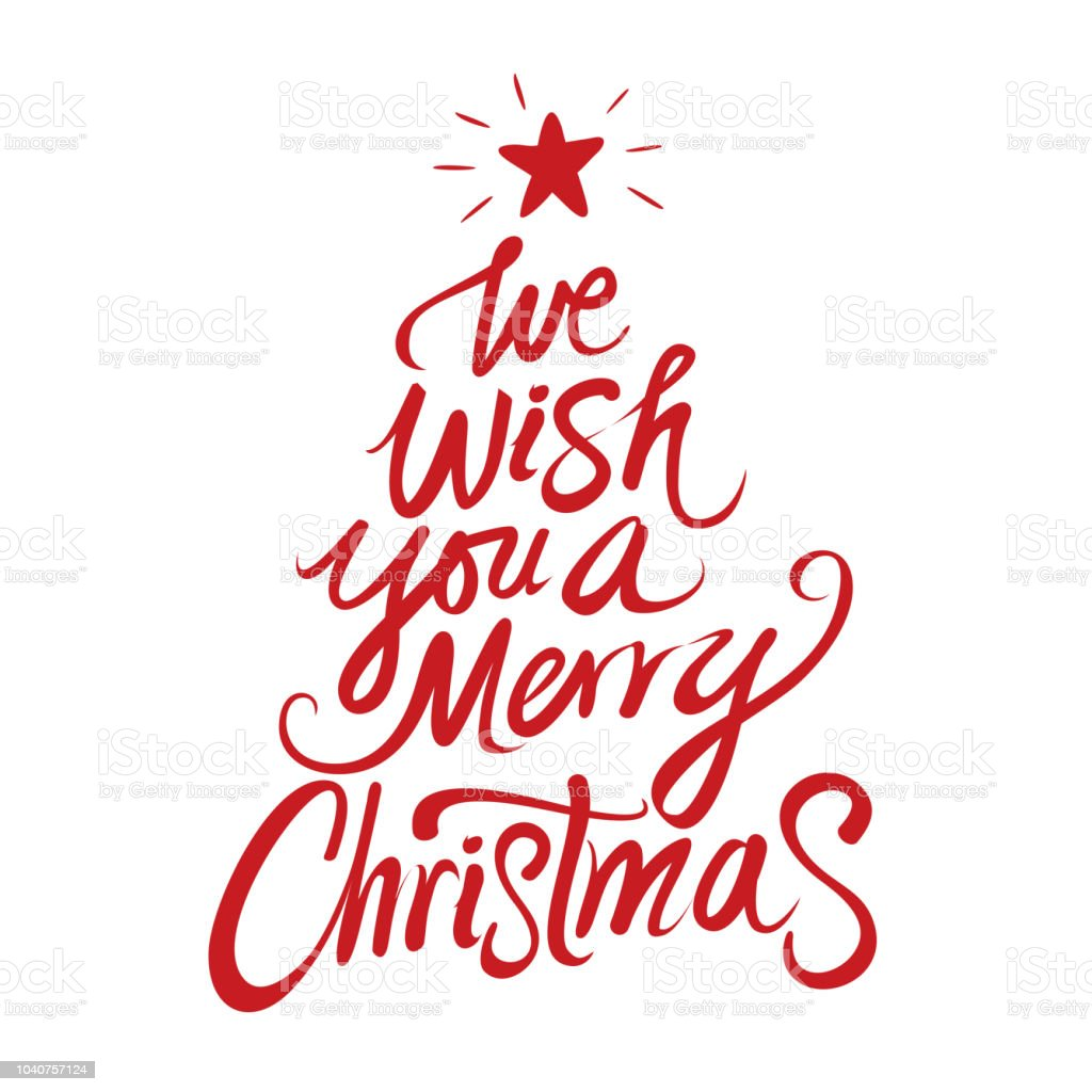We Wish You A Merry Christmas Text Stock Vector Art & More Images of ...