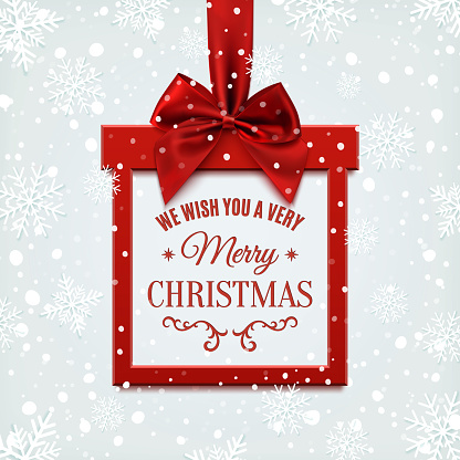 We Wish You A Very Merry Christmas Square Banner Stock Illustration - Download Image Now