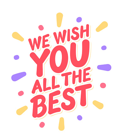 We wish you all the best. Farewell card. Vector lettering. Vector handwritten illustration.