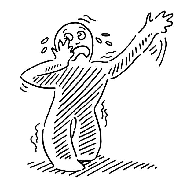 Weak Human Figure Feeling Sick Drawing Hand-drawn vector drawing of a Weak Human Figure Feeling Sick. Black-and-White sketch on a transparent background (.eps-file). Included files are EPS (v10) and Hi-Res JPG. cartoon character figure stock illustrations