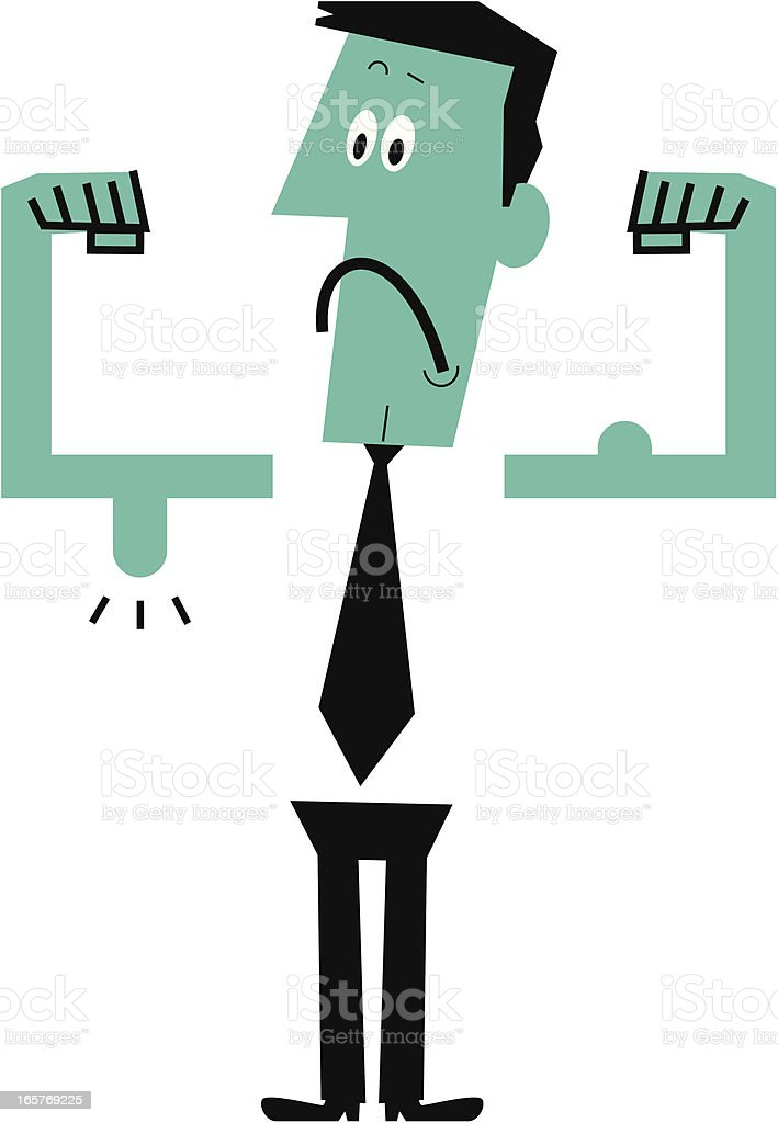 Weak man showing his muscles vector art illustration