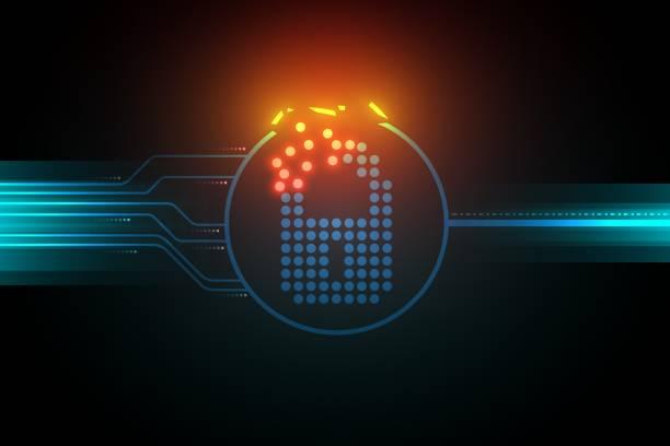 stockillustraties, clipart, cartoons en iconen met zwakte van de digitale gegevensbeveiliging systeem illustratie, broken lock symbool, dark circuit concept. - kwetsbaarheid
