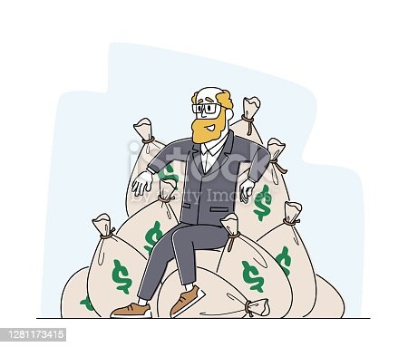 istock Wealth and Prosperity. Rich Male Character Sitting on Pile of Sacks with Dollars. Successful Business Man with Money 1281173415