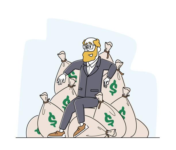 bildbanksillustrationer, clip art samt tecknat material och ikoner med rikedom och välstånd. rich male character sitter på högen av säckar med dollar. framgångsrik business man med pengar - endast en man