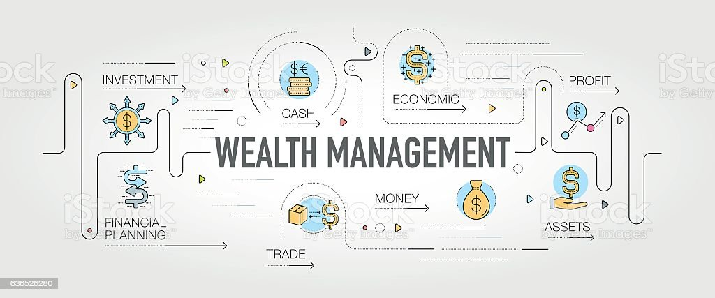 vector wealth management Wealth Management Banner And Icons Stock Vector Art