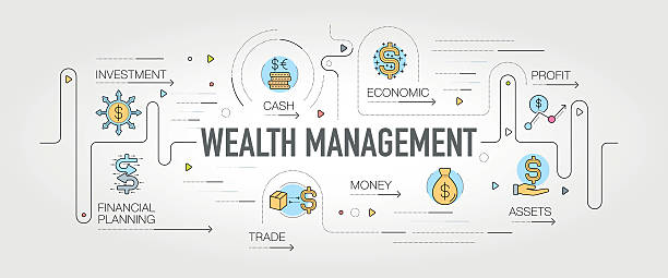wealth management banner and icons - account manager stock-grafiken, -clipart, -cartoons und -symbole