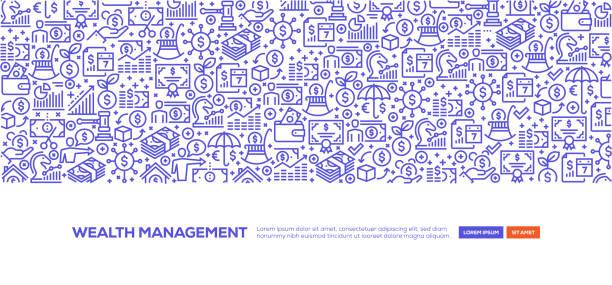Wealth Management Banner Wealth Management Banner time is money stock illustrations