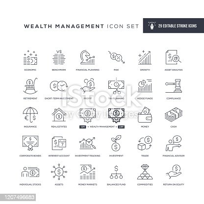 29 Wealth Management Icons - Editable Stroke - Easy to edit and customize - You can easily customize the stroke with