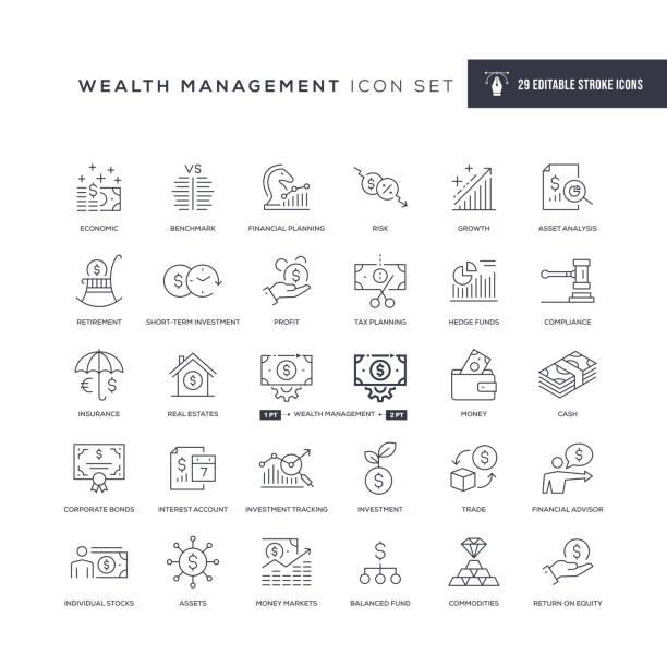 stockillustraties, clipart, cartoons en iconen met wealth management bewerkbare lijnpictogrammen - aandelen