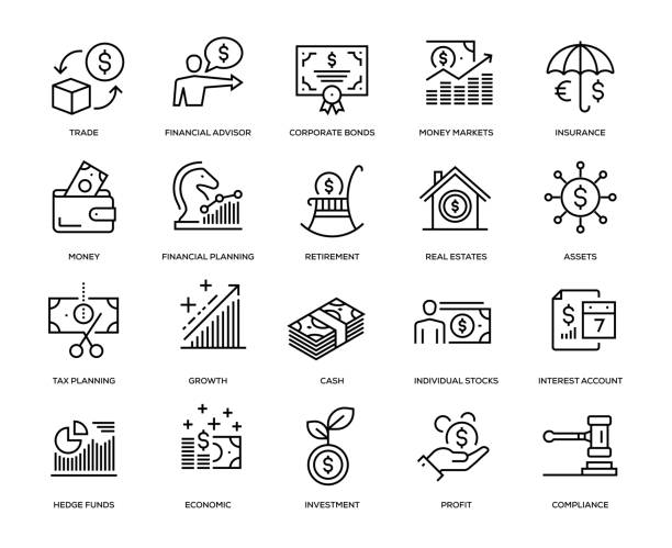 wealth-management-icon-set - market stock-grafiken, -clipart, -cartoons und -symbole