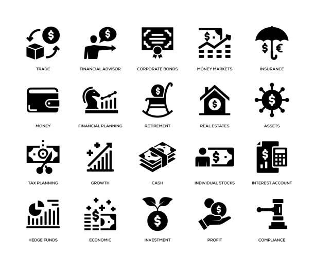 ilustrações, clipart, desenhos animados e ícones de jogo do ícone da gestão da riqueza - aposentadoria
