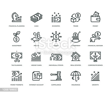 Wealth Management Icons - Line Series