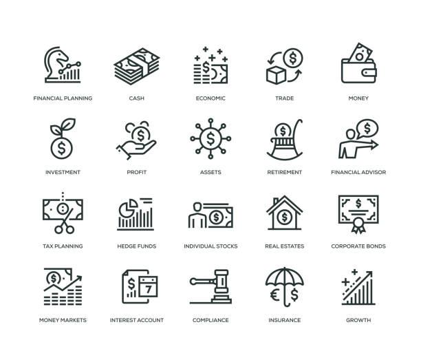 ilustrações, clipart, desenhos animados e ícones de ícones de gestão de riqueza - linha série - economia