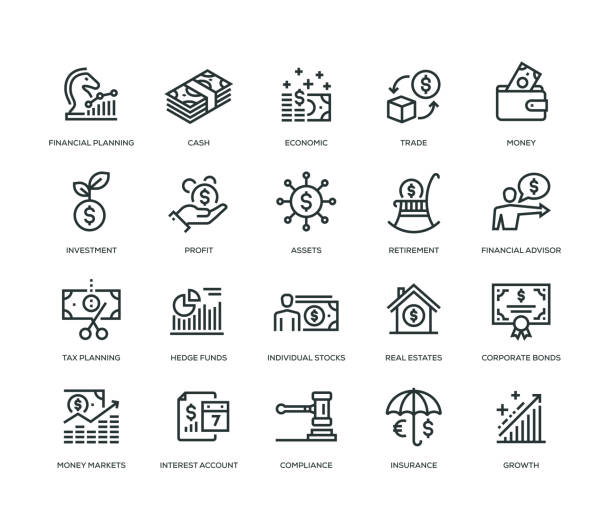 wealth management icons - line serie - market stock-grafiken, -clipart, -cartoons und -symbole
