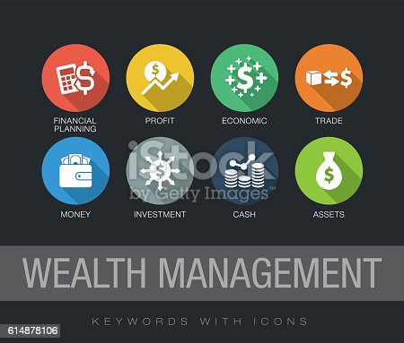 Wealth Management chart with keywords and icons. Flat design with long shadows