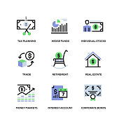 Wealth Management Line Icon Set