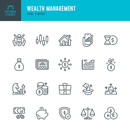 Wealth Management - thin line vector icon set. Pixel perfect. The set contains icons: Stock Market Data, Gold, Business Strategy, Piggy Bank, Investment, Economy, Tax.
