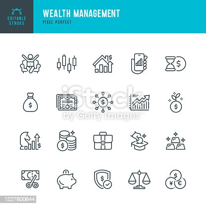 Wealth Management - thin line vector icon set. 20 linear icon. Pixel perfect. Editable outline stroke. The set contains icons: Stock Market Data, Stock Certificate, Business Strategy, Piggy Bank, Investment, Economy, Tax, Gold.