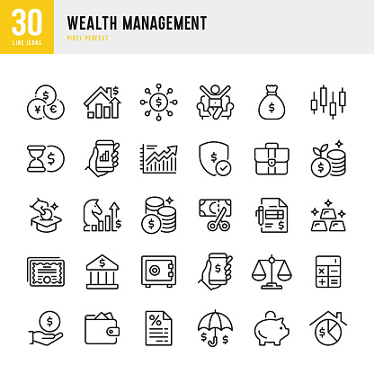 Wealth Management - thin line vector icon set. 30 linear icon. Pixel perfect. The set contains icons: Stock Market Data, Stock Certificate, Business Strategy, Piggy Bank, Investment, Economy, Tax, Gold, Budget, Savings, Real Estate.