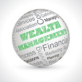 wealth management vector theme sphere with keywords