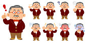 Wealthy middle-aged men wearing casual clothes 9 kinds of poses and expression sets whole body