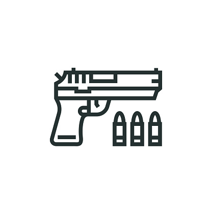 Weapon and Gun Line Icon