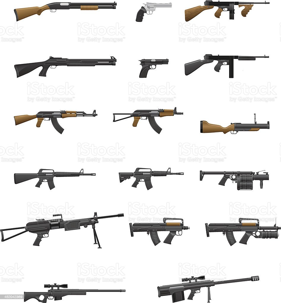 weapon and gun set collection icons vector illustration vector art illustration