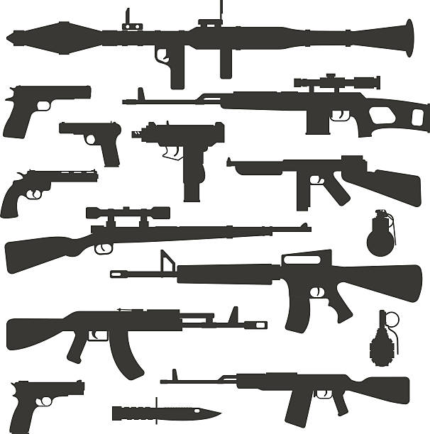 Weapon collection different military automatic gun shot machines silhouette police Silhouette army weapons and handgun army silhouette weapons. War rifle army assault silhouette weapons murder. Weapon collection different military automatic gun shot machines silhouette vector. gun stock illustrations