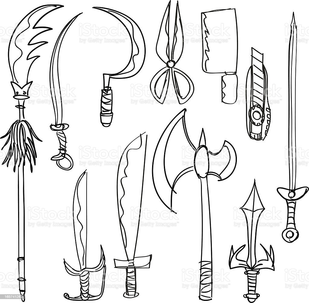 Weapon collection in black and white vector art illustration