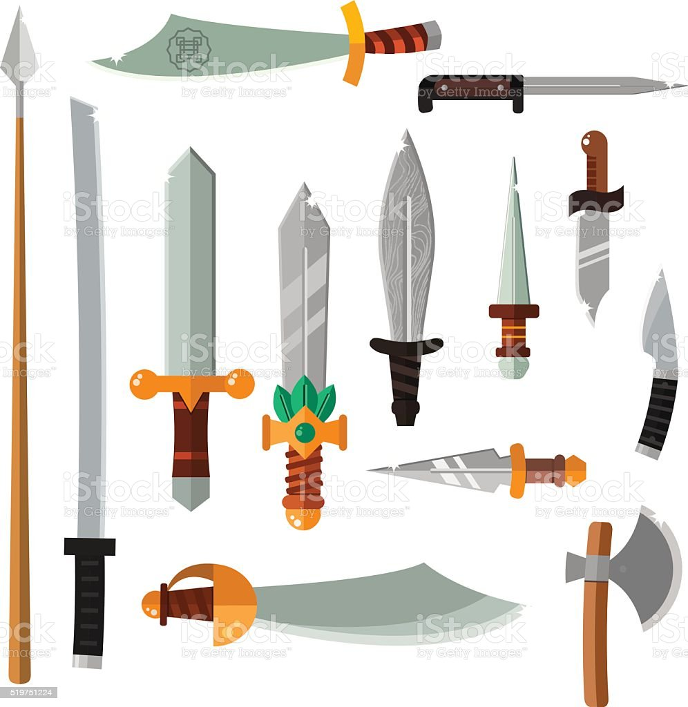 Weapon collection swords, knifes, axe, spear with gold handles cartoon vector art illustration
