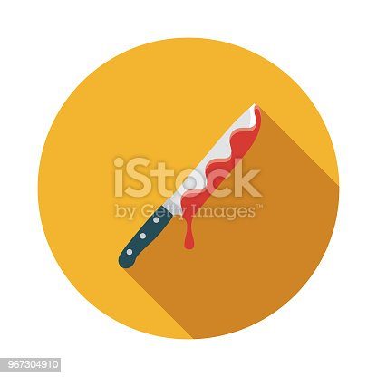 A flat design styled crime and punishment icon with a long side shadow. Color swatches are global so it's easy to edit and change the colors.