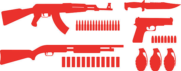 Weapon game resources silhouettes pack Weapon game resources silhouettes pack. Vector clip art illustrations isolated on white   ammunition stock illustrations