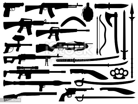 istock Weapon, gun, knife, rifle and shotgun silhouettes 1220282946