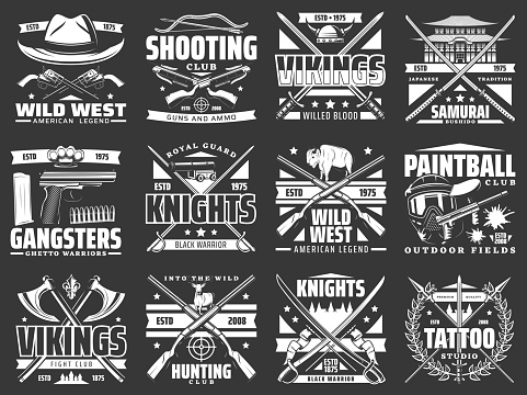 Weapon heraldic icons with guns, swords, rifles