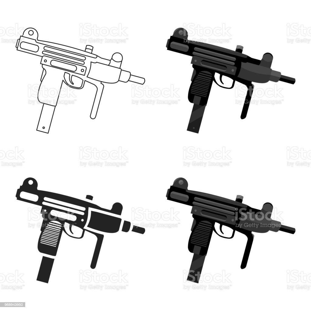 Vetores De Uzi Arma Icone Dos Desenhos Animados Unica Arma Iconde