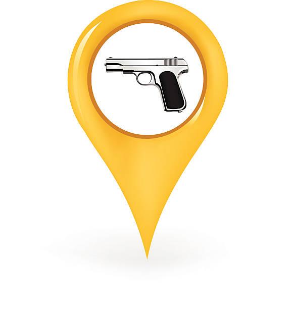 Weapon Location Map pointer showing a gun location gun shop stock illustrations