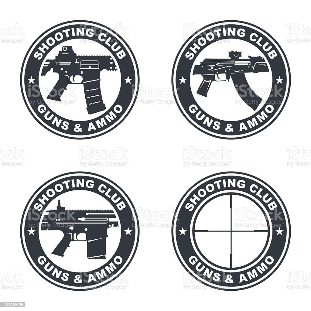 weapon rifle emblem2 vector art illustration
