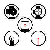 Weapon scope or gun sight icons set. Main types of firearms aiming devices: collimator, holographic, diopter, laser, optical, iron, crosshair. Weapon sights for use in hunting, sport, military design.